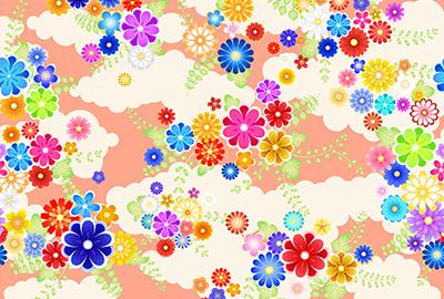 梅や菊が散りばめられたカラフルな背景